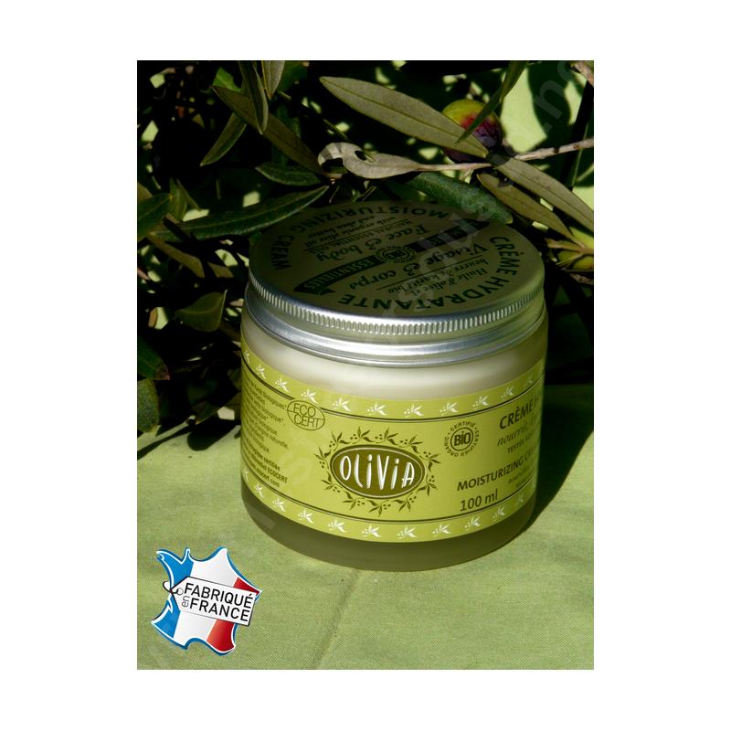 Crème hydratante à l'huile d'olive & au beurre de karité, certifiée BIO